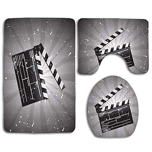 YGUII Movie Theater Clapper Board on Retro Backdrop with Grunge Effect Director Cut Scene Cloth Grey Black White 3pcs Set Rugs Skidproof Toilet Seat Cover Bath Mat Lid Cover Cushions Pads Directors Home Theater Seat