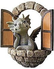 Garden Dragon Statue Outdoor, Dragon Out The Door Garden Resin Statue, Figurine Courtyard Dragon Sculpture Decoration for Patio Yard Art Home Decor Lawn Ornaments