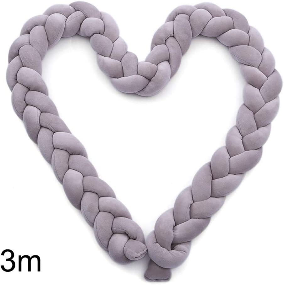 Domeilleur Baby Bed Bumper Pure Weaving Plush Knot Crib Bumper Kids Bed Baby Crib Protecting Decor