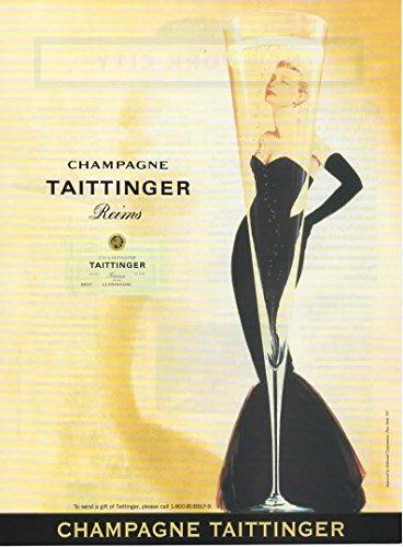 Retro Magazine Advertisement - Magazine Print Ad: 1996 Taittinger Champagne Reims, Grace Kelley, Retro style, 8 X 11 inches