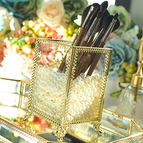 Stunning Gold Vintage Mirrorred Glass Brushholder/Lipstick Holder/Pencil Storage with Free White Pearl/Make Up Organizer Jewelry &Comestic Display/Bathroom Accessories Brushes Container/Vanity Set
