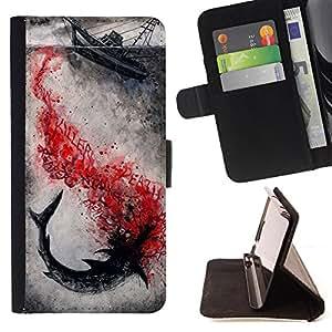 - Shark Sea - - Monedero PU titular de la tarjeta de cr?dito de cuero cubierta de la caja de la bolsa FOR Samsung Galaxy S4 IV I9500 Retro Candy