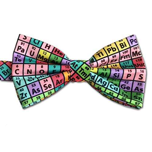 Periodic Table of Elements Chemistry Bow Tie, Rainbow, Microfiber -