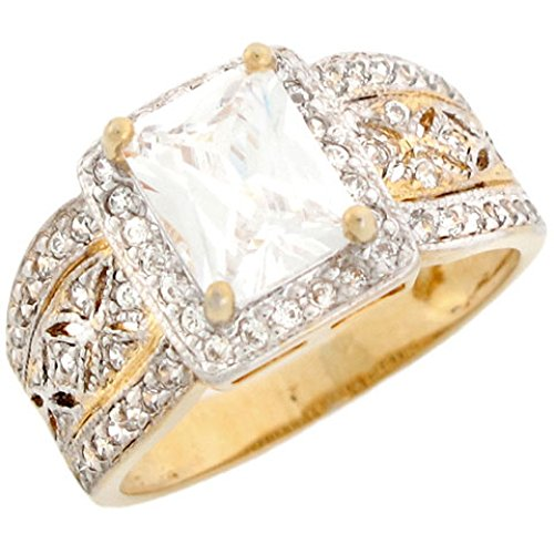 14k Two-Tone Gold Stunning Rectangle CZ Engagement Ring with (Rectangle Two Tone Ring)
