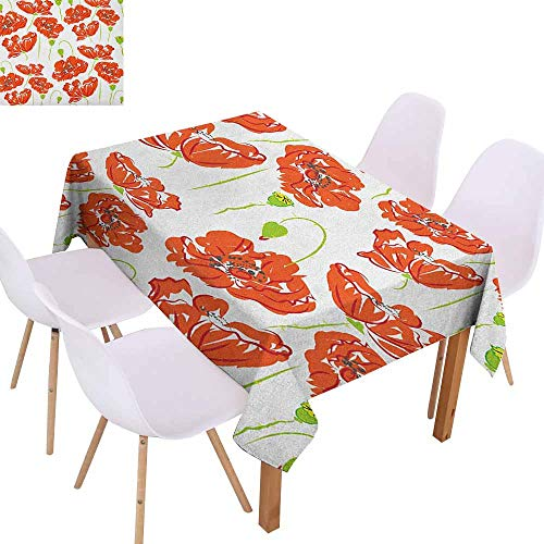 (Stain-Resistant Tablecloth Anemone Flower Doodle Style Poppy Anemone Field in Full Blossom May Flowers Excellent Durability W50 xL80 Scarlet Lime Green Black Great for Buffet Table)