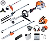 PROYAMA 42.7CC Gas Multi Function 5 IN 1 Pole Hedge Trimmer, Trimmer, Brush Cutter, Pole Chainsaw Pruner & 1M Extension Pole