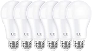 LE 100W Equivalent LED Light Bulbs, 14W 1600 Lumens 5000K Daylight White Non-Dimmable, A19 E26 Standard Base, UL/FCC Listed, 15000 Hour Lifetime, Pack of 6