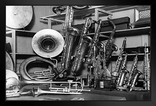 Musical Instruments Vintage Black and White Photo Photograph No Glare Wood Eco Framed Poster Print 13x9