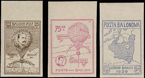 Poland 25g, 75g and 1Z local stamp for Balloon Races to Lvov. Fischer Balloon post 30 local. Mint never hinged. ()