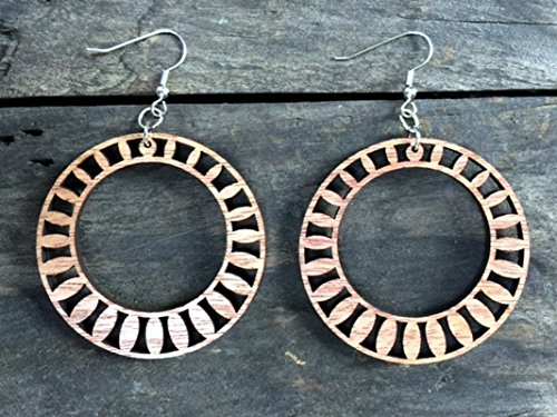 Chandelier Large Magnolia (Wood Radiance Large Round Hoop Earrings from Solid Mahogany)