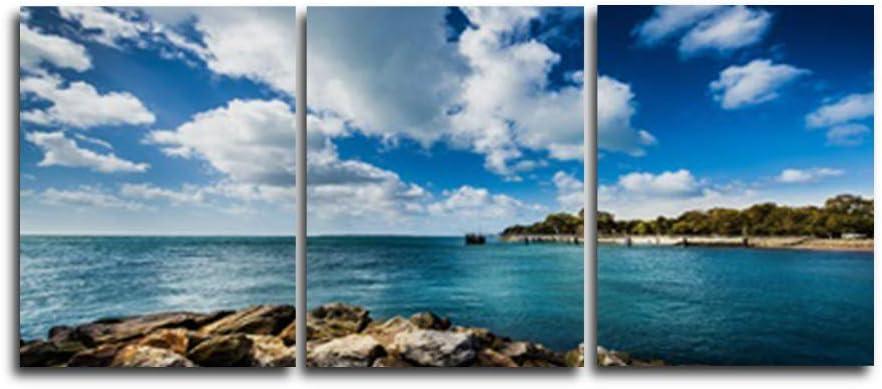 N / A 3 Paneles Blue Sky Sea Scenery Álbum de Fotos Poster Family Living Room Decoración del Dormitorio Pintura al óleo Arte Retro Sin Marco 20cmx25cm