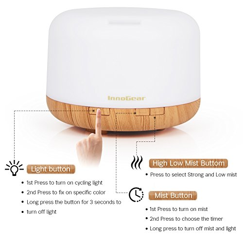 InnoGear 2017 Essential Diffuser In Ultrasonic Mist Humidifier Purifier 7 LED with Waterless and