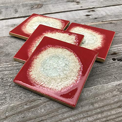 Geode Crackle Coaster Set of 4 in HOT TAMALE: Geode Coaster, Crackle Coaster, Fused Glass Coaster, Crackle Glass Coaster, Agate Coaster, Ceramic Coaster, Dock 6 Pottery Coaster from Dock 6 Pottery