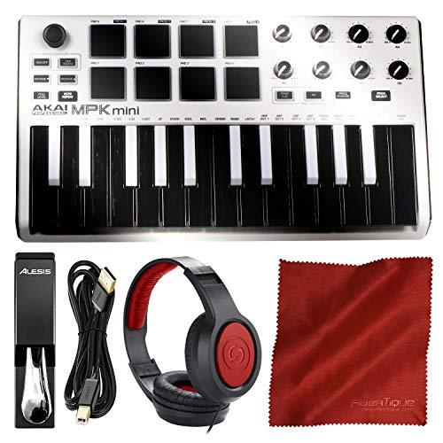 (Akai Professional MPK Mini MKII 25-Key Ultra-Portable USB MIDI Drum Pad & Keyboard Controller (White on Black) with Headphones & Pro Audio Cable Bundle )