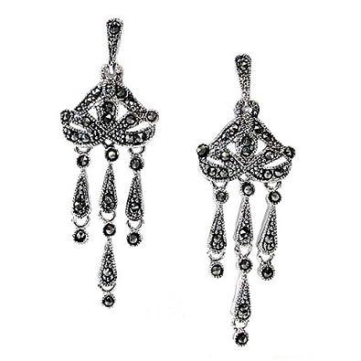 Amazon studio 925 royal duchess marcasite cz black rhodium studio 925 royal duchess marcasite cz black rhodium sterling silver chandelier earrings aloadofball Image collections