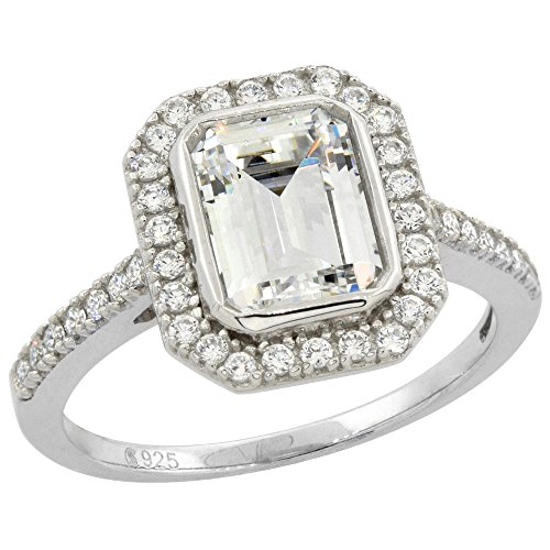 Sterling Silver Micro Pave Cubic Zirconia Halo Ring Cushion-cut 9x7mm, size 6 -