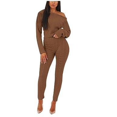 AOGOTO - Conjunto de pantalón de chándal de Punto para Mujer ...