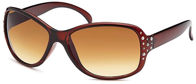 Klassische Damen Sonnenbrille Schmetterlingsbrille mit Metallapplikation am Scharnier UV 400 Filter- Im Set mit Etui (glänzend braun) 7QnkIHkI6c
