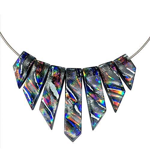 (Jasmine Necklace - Silver Dichroic Glass Necklace for Women with Bright Rainbow Accents)
