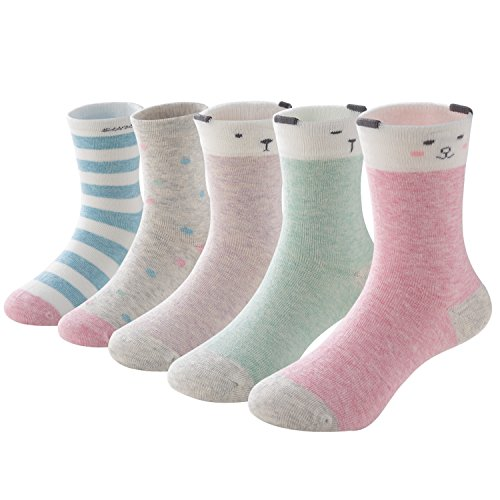 SUNBVE Little Girls Cute Animals Soft Cotton Crew Ankle Socks 5 Pack Cute Animals  Shoe size 12-2.5 Little Kid / 6-8 years (Best Shoes For Kids With Sensory Issues)