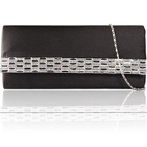 Xardi New satin diamante donne pochette da sera party borsetta da donna da sposa designer Black