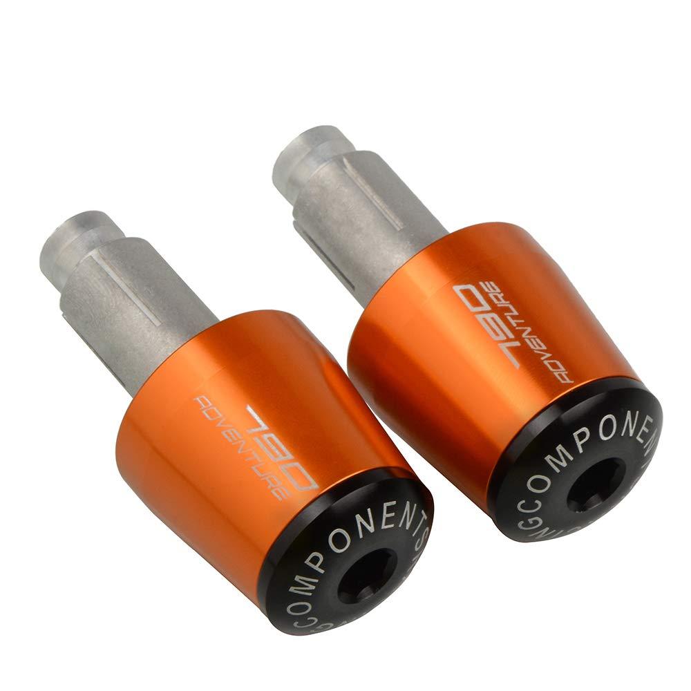 2Pcs 7//8 22mm Moto Extr/émit/és du Guidon en Aluminium Poign/ée de Guidon Embouts pour K-T-M 790 Adventure 2019-Orange
