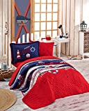 Bekata Nautical Bedding 100% Cotton Bed Cover Set, Single/Twin Size Bedspread/Quilt Set for All Season, Anchors, Compass, Lifebuoy, Lighthouse Themed, Fitted Sheet Included, 4 PCS, Navy Blue Red White