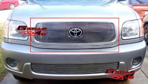 APS T65428A Polished Aluminum Billet Grille Bolt Over for select Toyota Sequoia Models Toyota Sequoia Billet Grille