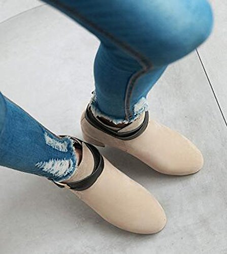 Idifu Kvinna Klassiska Spänne Faux Mocka Rund Tå Mitten Chunky Klackar Korta Boots Beige