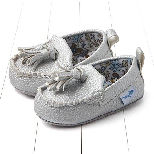 Hunpta Neugeborene Säuglingsbaby doppelte weiche alleinige lederne einzelne beiläufige flache Schuhe Silber