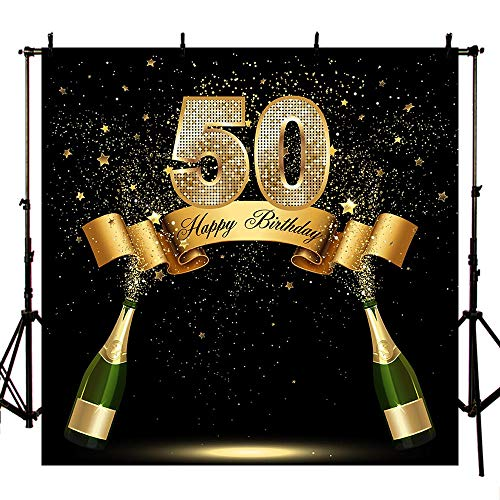 MEHOFOTO Gold and Black Photo Studio Booth Background Happy 50th Birthday Party Stars Champagne Banner Backdrops for Photography 8x8ft