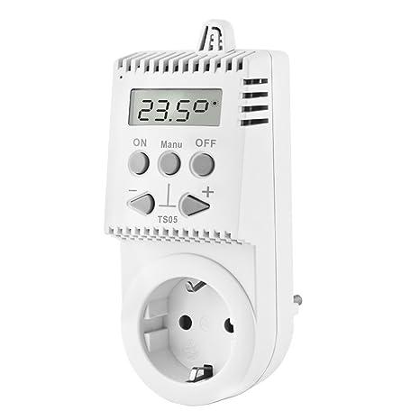Elektrobock Termostato electrónico para enchufe control de temperatura calefacción electrica