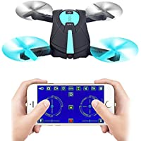 Rabing RC Drone Foldable Flight Path FPV Wifi RC Quadcopter Altitude Hold Remote Control Drone with 2MP HD 720P Camera (Blue)