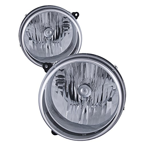 - HEADLIGHTSDEPOT Chrome Housing Halogen Headlight Compatible with Jeep Liberty 2002-2007 Includes Left Driver and Right Passenger Side Headlamps