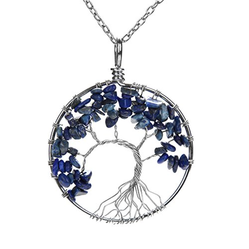 - Lapis Lazuli APURSUE Tree Of Life Pendant Necklace with 2 Chains + 2 Waxed Cotton Cord, Nature Stone Handmade Amethyst Crystal Necklace Gemstone Chakra Jewelry Women Valentine's Day Mothers Day Gift