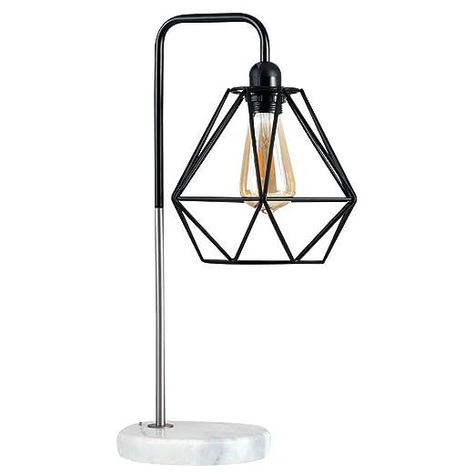 Black Industrial Style Diamond Shaped Basket Shade Gold LED Filament Bulb