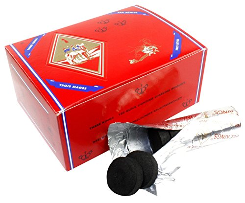 Three King Charcoal -33 mm Premium Hookah Incense Charcoal Coals, 2 Box of 100 Piece, Total 200 Piece