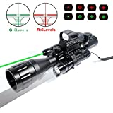AR15 Rifle Scope 4-16x50EG Rifle Scope Parallax Adjustable Combo with Green Laser Reflex Sight and 5 Brightness Modes Flashlight
