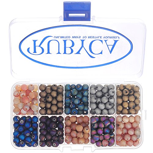 Mix Gemstone Round Bead - RUBYCA Round Electroplated Druzy Agate Quartz Gemstone Loose Beads Organizer Box (Mixed Colors, 8mm)