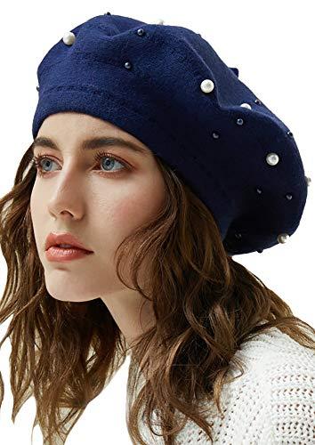 (YI HENG MEI Women's Winter Warm Classic Beaded Faux Rabbit Fur Berets Hat Artist Cap,Navy Blue)