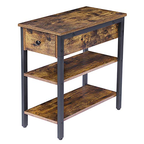 HOOBRO Side Table, 3-Tier Nightstand with Drawer and 2 Storage Shelves, End Table for Living Room, Bedroom, Office, Space Saving, Stable and Sturdy Construction, Industrial Design, Rustic Brown