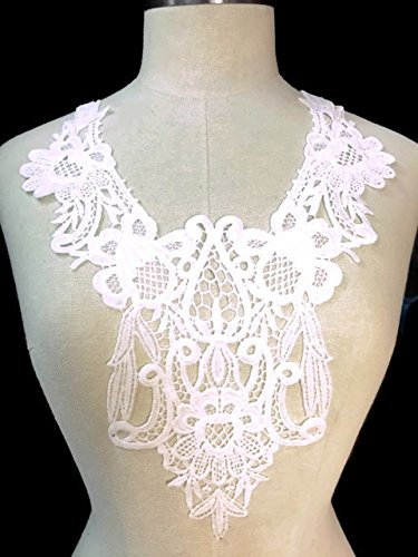 - 2 Pieces Large Floral Victorian Applique Yoke Lace,Off White, 10.5