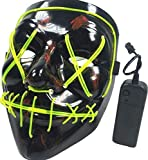 Halloween Scary Mask Cosplay Led Costume Mask EL Wire Light up for Halloween Festival Party-green light