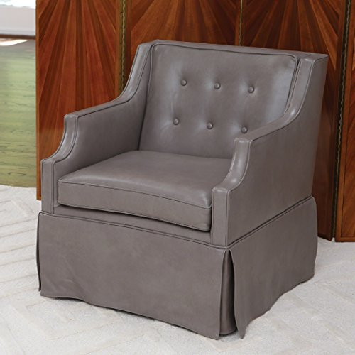Global Views Skirted Leather Chair Dove Grey (Skirted Storage Ottoman)
