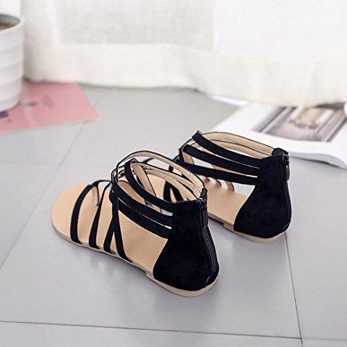 Sandales sangle talons chaussures féminines bohème plates Noir gladiateurs GreatestPAK à chaussures flops dO0vqIdx