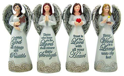 Divine Reminder Guardian Angel Figurines with Inspirational Verse, Pack of 4, 4 Inch