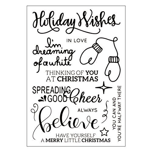Kwan Crafts 2 Sheets Different Style Merry Christmas Best Wishes Get Well Soon Clear Stamps for Card Making Decoration and DIY Scrapbooking