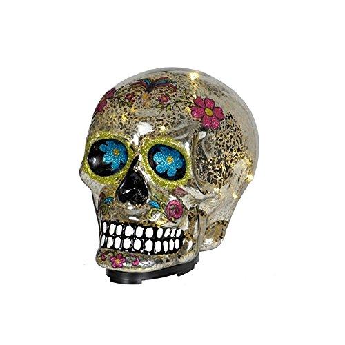 Day of the Dead Black Sugar Skull Theme Glass Skull LED Statue (Sugar Skull Theme)