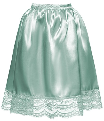 DYS Women's Satin Slip Short Petticoat Skirt Underskirt Lace Hem Many Colors Sage S/M -