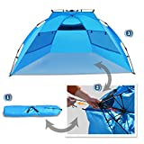 Strong Camel Easy Up Pop up Instant Beach Tent Canopy Shelter Blue Large